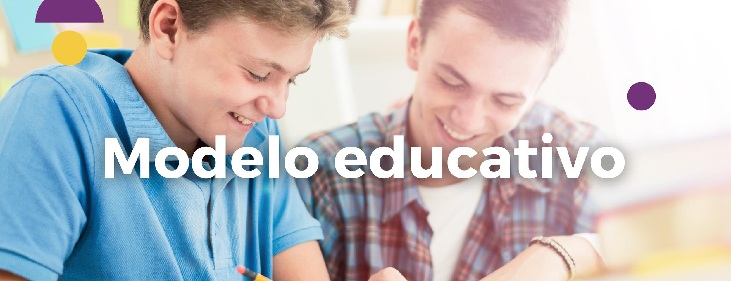 Imagen de Portada de Modelo Educativo - Chicos sonriendo y estudiando
