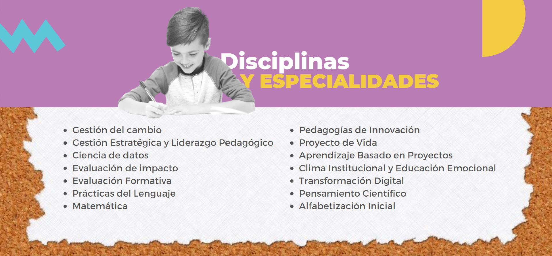 Imagen con listado de Disciplinas y Especialidades en donde se visualiza un chico contento escribiendo sobre unas hojas